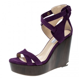 Jimmy Choo Purple Suede Naomi Cross Strap Bow Detail Wedge Sandals Size 41 -