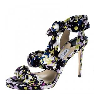 Jimmy Choo Multicolor Floral Print Satin Kris Knot Sandals Size 40 -