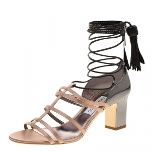 Jimmy Choo Beige Satin and Metallic Leather Diamond Tie Up Block Heel Sandals Size 40 -