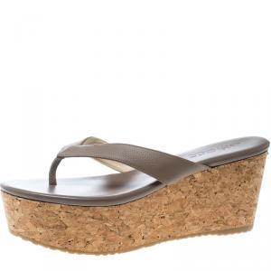 Jimmy Choo Beige Embossed Leather Paque Cork Platform Sandals Size 40 -