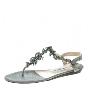 Jimmy Choo Grey Suede Crystal Embellished Flat Thong Sandals Size 39.5 -