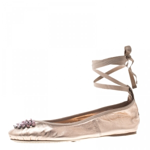 Jimmy Choo Metallic Rose Leather Grace Crystal Embellished Ankle Wrap Ballet Flats Size 41 -