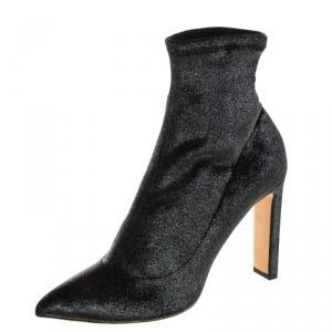 Jimmy Choo Metallic Gunmetal Stretch Velvet Louella Sock Boots Size 40.5 - used