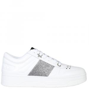 "Jimmy Choo White Leather ""Hawai"" Sneakers Size EU 37.5"