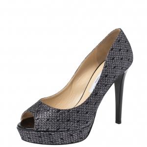 Jimmy Choo Black Lamè Glitter Fabric Dahlia Platform Peep Toe Pumps Size 40