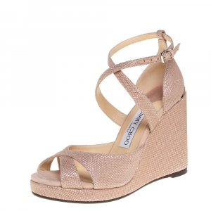 Jimmy Choo Pink Glitter Penny Wedge Sandals Size 36.5 - used