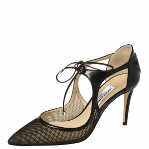 Jimmy Choo Black Mesh and Leather Vanessa Pointed Toe Sandals Size 39