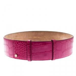 Jimmy Choo Pink Croc Embossed Leather Waist Belt 85CM