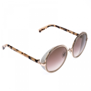 Jimmy Choo Giittered Copper Gold/Pink Gradient Gold Mirrored ANDIE/S Round Sunglasses