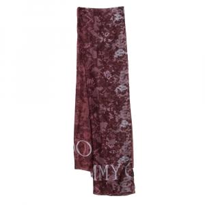 Jimmy Choo Burgundy Snakeskin & Floral Print Silk Scarf