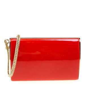 Jimmy Choo Red Patent Leather Carmen Chain Wristlet Clutch