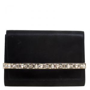 Jimmy Choo Black Shimmering Leather Crystal Embellished Clutch