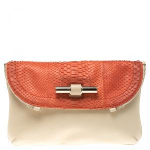 Jimmy Choo Beige/Orange Python and Leather Jasmine Clutch