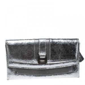 Jimmy Choo Metallic Silver/Grey Leather Clutch