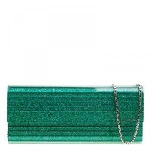 Jimmy Choo Green Glitter Acrylic Sweetie Clutch