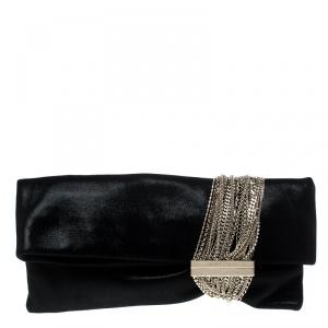 Jimmy Choo Black Shimmering Leather Chandra Clutch