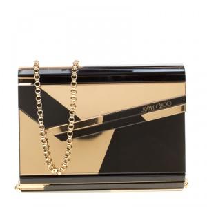 Jimmy Choo Black/Gold Acrylic Candy Clutch Bag