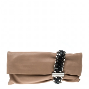 Jimmy Choo Beige Leather Chandra Clutch
