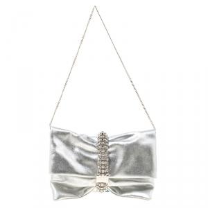 Jimmy Choo Silver Leather Maxi Crystal Bracelet Embellished Chandra Clutch