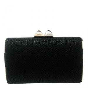 Jimmy Choo Black Glitter Fabric Mini Tube Clutch