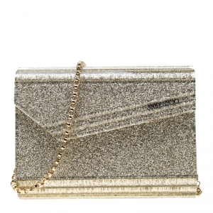 Jimmy Choo Silver Glitter Acrylic Candy Clutch Bag