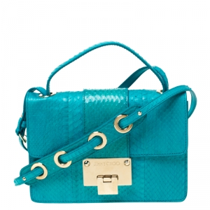 Jimmy Choo Blue Snakeskin Rebel Crossbody Bag
