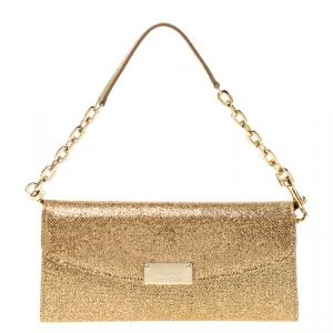 Jimmy Choo Gold Lame Glitter Riane Clutch
