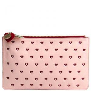 Jimmy Choo Pink Leather Sweet Heart Clutch Bag