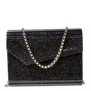 Jimmy Choo Black/Gold Glitter Acrylic Candy Clutch Bag