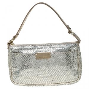 Jimmy Choo Gold Glitter Top Zip Pochette Bag