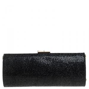 Jimmy Choo Black Fabric Glitter Twill Tube Clutch