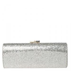 Jimmy Choo Silver/Gold Glitter Fabric Twill Tube Clutch