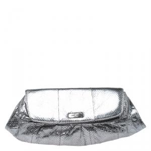 Jimmy Choo Metallic Silver Snakeskin Leather Clutch