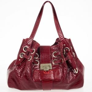 Jimmy Choo Burgundy Lizard Embossed Glazed Leather Ramona Bag