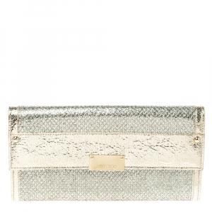 Jimmy Choo Metallic Gold Leather and Glitter Reese Flap Clutch