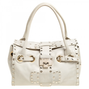 Jimmy Choo Cream Leather Medium Rosalie Satchel