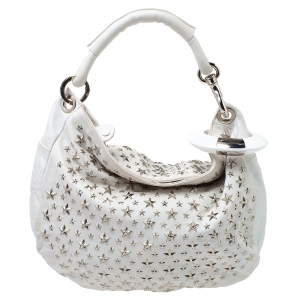 Jimmy Choo White Leather Small Star Studded Solar Hobo