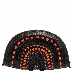 Jimmy Choo Black/Orange Braided and Woven Leather Half Moon Clutch