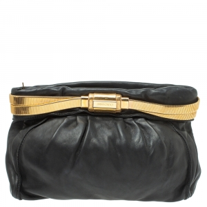 Jimmy Choo Black Leather Oversized Chain Zip Clutch