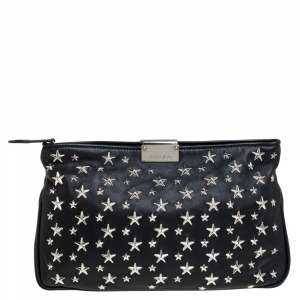 Jimmy Choo Black Leather Star Studded Zulu Clutch