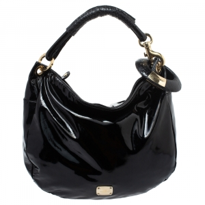 Jimmy Choo Black Patent Leather and Python Large Sky Hobo