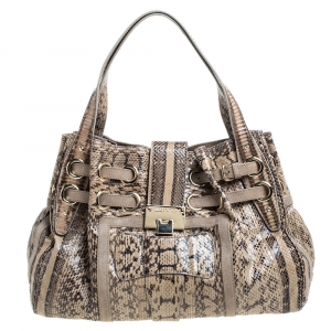 Jimmy Choo Beige Python and Suede Trim Riki Tote