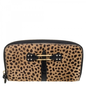 Jimmy Choo Animal Print Calf Hair Zip Around Wallet
