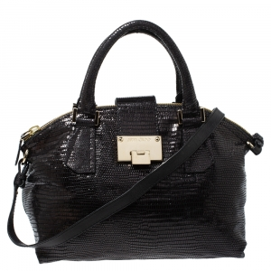 Jimmy Choo Black Lizard Effect Leather Rosa Satchel