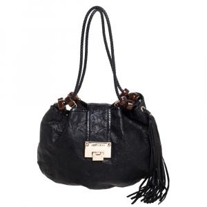 Jimmy Choo Black Crinkled Leather Roxana Hobo