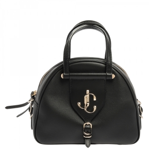 Jimmy Choo Black Leather Small Varenne Bowler Bag