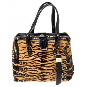 Jimmy Choo Brown/Black Leopard Print Calfhair and Croc Embossed Leather Blythe M Bag