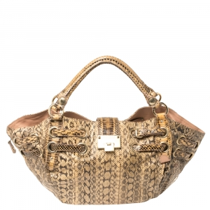 Jimmy Choo Cream/Black Python Ramona Shoulder Bag