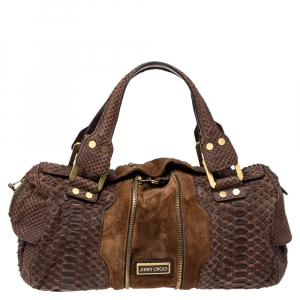 Jimmy Choo Brown Python and Suede Marla Satchel