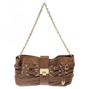 Jimmy Choo Brown Leather Riki Chain Shoulder Bag